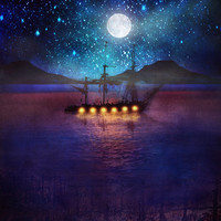 The lights and the Silent Water Art Print by Viviana Gonzalez