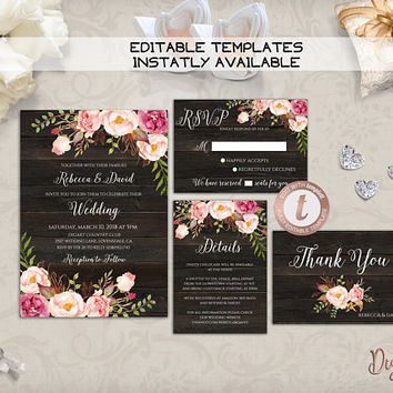 Rustic Wedding Invitation Template Printable Boho Floral Wedding Invitation Set Editable Country Wedding Invites Instant Download, Templett
