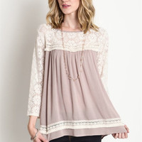 Lace Baby Doll Top - Latte