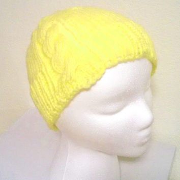 Yellow Knit Hat, Cabled Knit Hat, Women and Teen Accessory