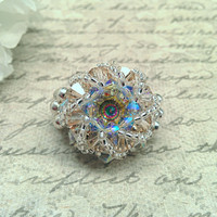 The Maddy- Light Sapphire and Vintage Rose Swarovski Crystal Celestial Inspired Cocktail Ring with Peacock Eye Rivoli