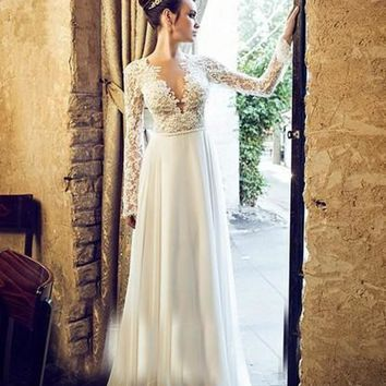 Vintage Boho Beach Wedding Dress 2016 Sexy Deep V Backless Lace Long Sleeve Vestido De Noiva Chiffon Cheap Bridal Dresses