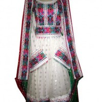 Kochi Dress, Barosha, Gagra, in White Color