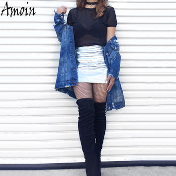 Amoin Fashion Metallic Color Faux Leather Skirt New 2017 Women High Waist Summer Silver White Short Mini A-line Skirts