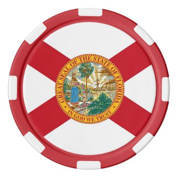Patriotic poker chips with Flag of Florida
