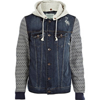 River Island MensDark wash aztec sleeve denim jacket
