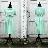 Spring Princess Dress/ Beautiful Vintage 50s Mad Men Drop Waist Full Skirt Party Work Swing Dress