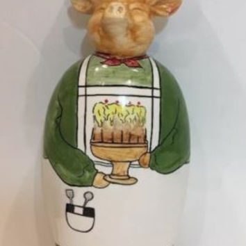 Vintage & Rare Porcelain Hand Painted Pig Fat Chef Tall Liquor Decanter Bottle
