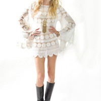VTG 70s Sheer White Crochet Angel Slvs Wedding Hippie Boho Festival Mini Dress