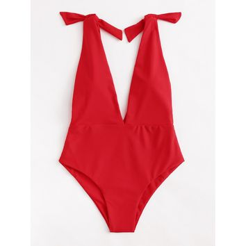Women's Red Deep V Plunge Knot One Piece Monokini Swimsuit