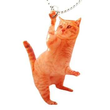 Realistic Orange Tabby Kitty Cat Shaped Dangling Pendant Necklace | Handmade