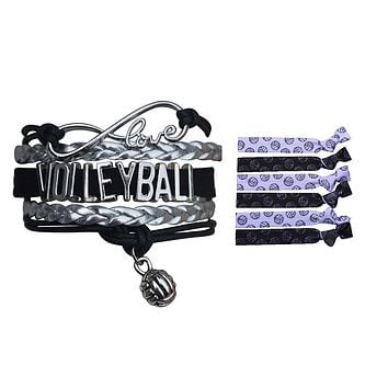 Girls Infinity Volleyball Gift Set (Bracelet & Hair Ties)