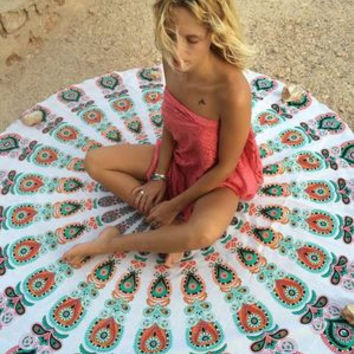 2016 Casual Floral Shape Retro Vintage Tribal Ethnic Relaxing Beach Summer Towel Cape Matt Shawl Cover Up Plaid Sunblock Wall Tapestry Coverlet _ 6309