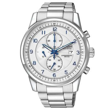 Citizen CA0330-59A Men's Eco-Drive Stainless Steel Textured White Dial Chronograph Watch