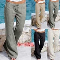 [13096] Plus Size Women Fashion Linen Drawstring Long Solid Pants