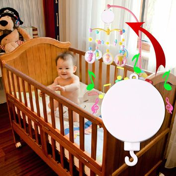 OCDAY Baby Musical Crib Mobile Bed Bell Toy Holder Arm Bracket with Wind-up Music Box Plastic Hanging Rattles Funny Toys Hot