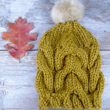 Women's Chunky Cable Knit Hat in Olive Green with Tan Faux Fur Pom Pom, Pom Pom Hat, Hat with Pom Pom, Women's Hat, Slouchy Beanie, Winter