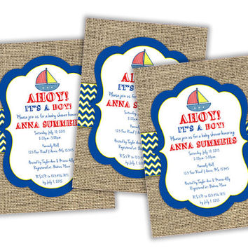Ahoy Its A Boy Invitation - Nautical Baby Shower Invitations - Burlap - Sailboat - Boy Baby Shower - Baby Boy - Chevron - Rustic