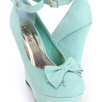 Mint Bow Accent Platform Wedges Faux Suede