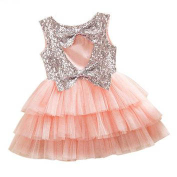 Beautiful Cut Out Sequined Tiered Tutu Kids Party Dress
