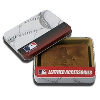 Boston Red Sox Leather Bifold Wallet (Brown/Red)