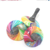 HOLIDAYS SALE Colorful spinning tops, set of 3 small unique dreidels, polymer clay rainbow dreidels, great Hanukkah gift idea, toy for all