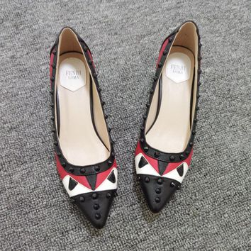 Small Monster Multicolor Pointed Shoe Head Rivet Heels Shoes Rough Heel Single Shoes-2