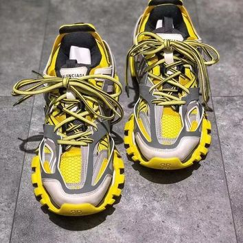 Balenciaga Track Trainers In Yellow Mesh And Nylon Sports Sneakers Shoes