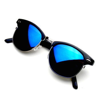 Retro Fashion Half Frame Flash Mirror Semi Rimless Horned Rim Sunglasses