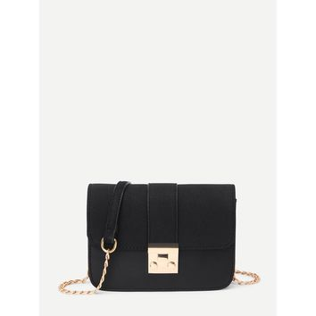 Black Flap Crossbody Bag