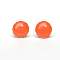 Coral studs . Coral post earrings . Eco friendly jewelry . Wood studs . gift for her eco friendly studs