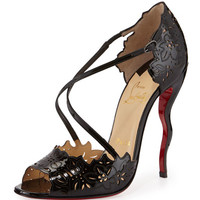Christian Louboutin Enchantee Laser-Cut Red Sole Pump, Black