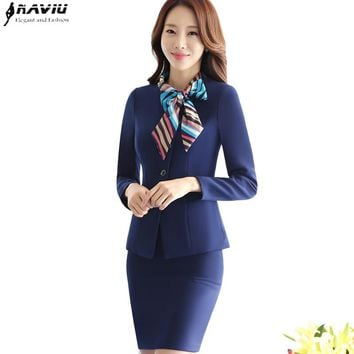 New women skirt suits elegant Business formal long sleeve Bow scarf blazer and skirt office ladies plus size work uniforms sets