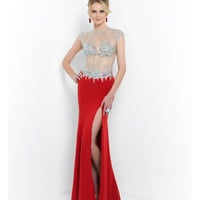 Red Valentine Beaded Illusion Open Back Gown