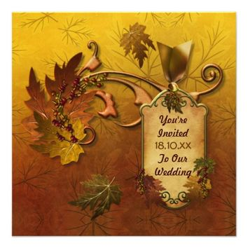 Autumn Leaves Fall Wedding Invitation