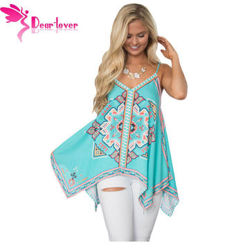 DearLover Spaghetti Strap Vest Femme Vintage Sexy Hot Bluish Tribal Print Summer Holiday Tank Top Loose Casual Camisole LC250046