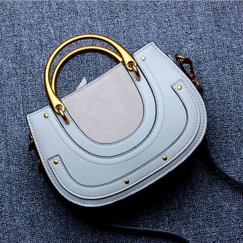 Women's Modern Oh Ring Metal Handle Genuine Leather Multi-Color Casual Bag