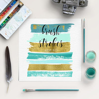 Brush Stroke Clip Art | Mint, Gold Graphic Elements | Hand Painted Clip Art | Acrylic Brush Strokes | BUY5FOR8