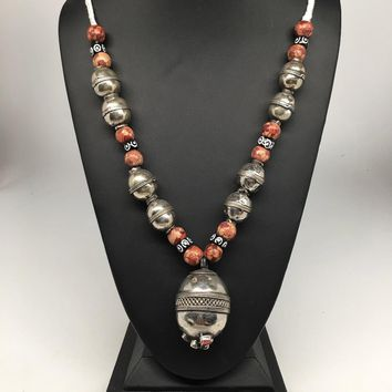"90.6g, Double Round Metal Wood Beaded Turkmen Necklace @Afghanistan, 25"", TN155"