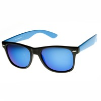 Neon Two-Toned Color Mirror Lens Horn Rimmed Sunglasses