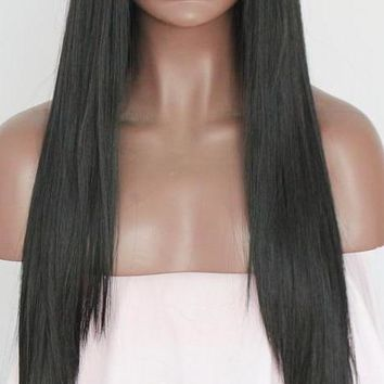 Evelina- Straight Heat Resistant Kanekalon Fiber Synthetic Lace Front Wig