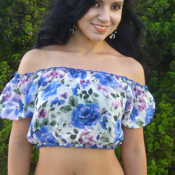 Yearning For Summer White Floral Peasant Crop Top