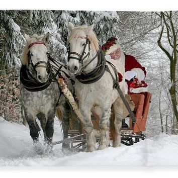 Santa Sleigh With Horses - Blanket