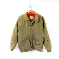 vintage khaki greeen Puffer coat. Winter coat with Boy Scout patches. pocket coat with corduory. climate control Camping Coat size M L