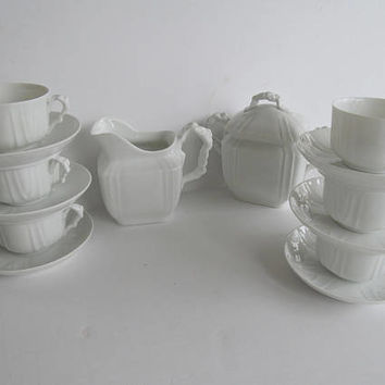 White Tea Set Service for 6 Place Setting Leonard Vienna Austria Porcelain Tea Set Sugar and Creamer set Fine Dining Dishes Luxury Dishes