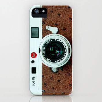Classic retro White Leica  M9 with Brown Leather vintage camera apple iPhone 4 4s, 5 5s 5c, iPod & samsung galaxy s4 case