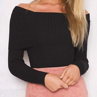 Women Casual Off Shoulder knitted Sweaters Gift-60