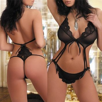 Women Sexy Lingerie Babydoll Underwear Lace Dress G-string Nightwears Sleepwear beautifulspace (Color: Black)