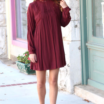 High Neck Long Sleeve with Lace Trim Dress {Burgundy}
