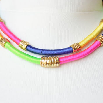 Tribal Jewelry, African Inspired Necklace, Multicolor Wrapped Necklace - Neon Rope Necklace